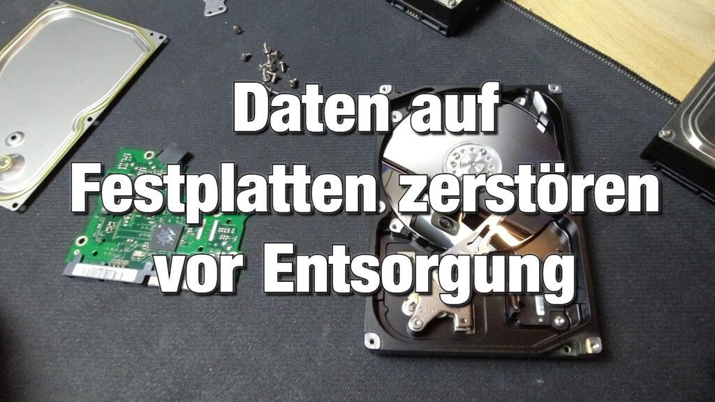 Daten auf Festplatten zerstoeren mechanische vernichtung vor entsorgung shredder